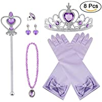 Vicloon Princesa Vestir Accesorios 8 Pcs Regalo Conjunto de Belleza Corona  Anillo Sceptre Collar Pendientes Guantes fd7bfaf5eb5