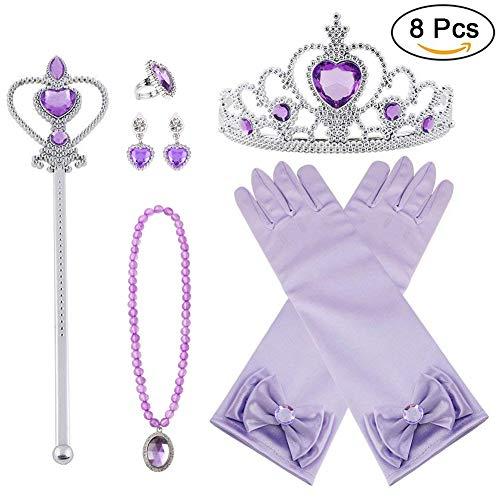 Vicloon neue Prinzessin Kostüme Set 8 Stück Geschenk aus Diadem, Handschuhe, Zauberstab, Halskette2-9 Jahre (Lila)