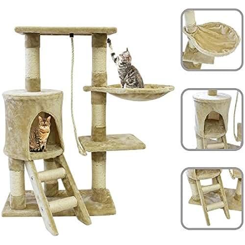 regalos kawaii gato Todeco - Árbol para Gatos, Escalador para Gatos - Material: MDF - Material de revestimiento: Terciopelo - 90 cm, 4 plataformas, Beige