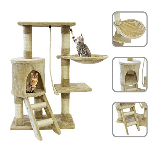 Árbol para gato de color beige, con rascador de 90 cm y piel sintética. Incluye accesorios como hamaca, cuerda y casa.