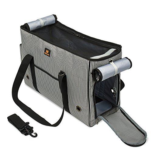 BIGWING STYLE Tragetasche Hund Katze Handtasche / Umhängetasche für Transportieren Kleintiere Haus Tasche Leinwand + Mesh atmungsaktiv und beständig Perfekt für Reisen mit dem Flugzeug oder mit dem Auto 49X20X35CM Pet Maxi Gewicht 4,5 kg