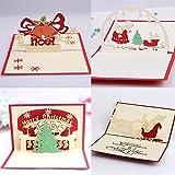 JinSu 3D Pop Up Biglietto Natalizio di Auguri, 4 Pezzi Misto Cartoline di Natale con Buste per Natale e Capodanno, Albero di Natale, Pupazzo di Neve, Campana, Babbo Natale Disegni Inclusi