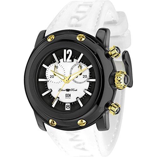 Glam Rock Unisex Miami Beach 46mm White Silicone Band Polycarbonate Case Quartz Black Dial Watch GR25143
