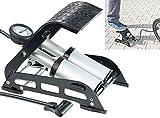 AGT Autopumpe: Hochleistungs-Fußluftpumpe, Doppel-Stahlzylinder, Manometer bis 7 bar (Fußluftpumpen mit Doppelzylinder)