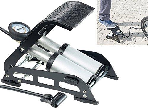 AGT Fusspumpe: Hochleistungs-Fußluftpumpe, Doppel-Stahlzylinder, Manometer bis 7 bar (Fußluftpumpen mit Doppelzylinder)