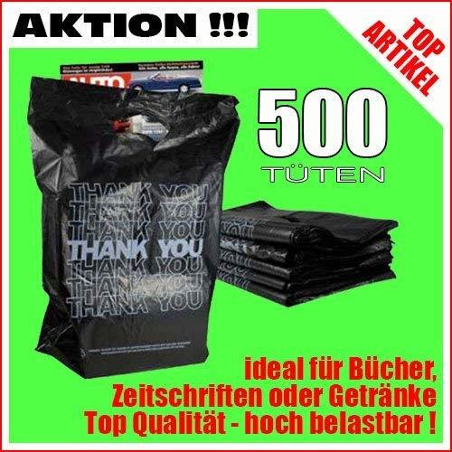 TE-Trend 500 Plastiktüten Einkaufstüten Tragetaschen mit Henkel schwarz mit weißen Aufdruck Thank You Tragetüten 45x34cm stabil