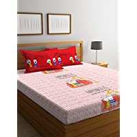 Portico Stellar Home Happiness Printed Cotton Double Bedsheet, Multi-Colour, 224 x 254 cm, 8101981