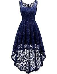 7640fabdc302 HomRain Vestito Donna in Pizzo Senza Maniche Alto Basso Elegante Vintage  Abiti da Cerimonia Sera Swing