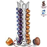Bakaji-Stand-Porta-Capsule-Caff-Long-40-Posti-Base-Rotante-Girevole-360-Inserimento-Verticale-In-Metallo-Silver