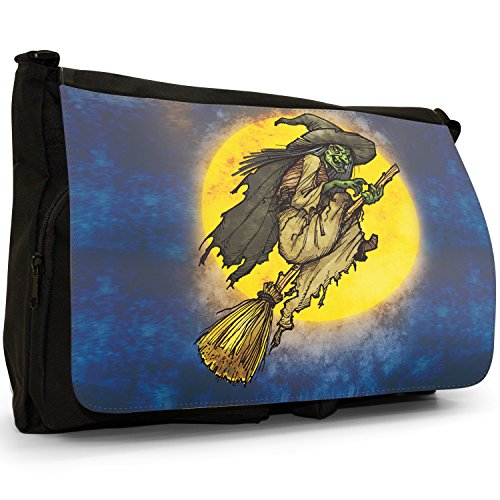 Fancy A Bag Borsa Messenger nero Moonlight Bats Cackling Witch Riding Broomstick Full Moon