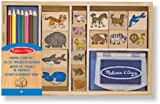 Melissa & Doug 13798 Wooden Stamp Set, Animals - 16 Stamps 4 Coloured Pencils Stamp Pad
