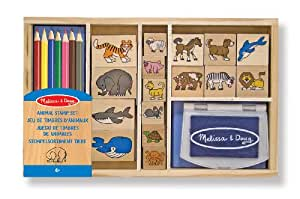 Melissa & Doug Wooden Stamp Set with 16 Stamps, 4 Coloured Pencils and Stamp Pad, Animals