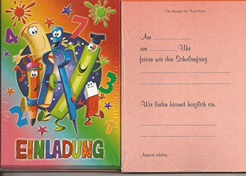 Einladungskarten Einladungen zur Einschulung - Schulanfang 5 Stück mit Innentext und Versandumschlag