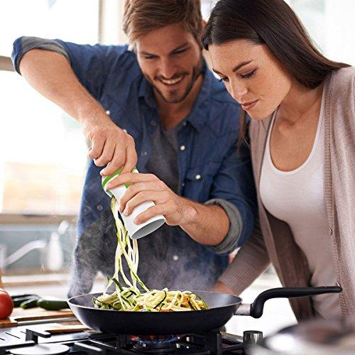 confronta il prezzo Spiralizzatore Affetta Verdure Spaghetti - Qualità Affettatrice Spirale Vegetale Veggetti, Zucchine Pasta Tagliatella Spaghetti+ Pennello miglior prezzo