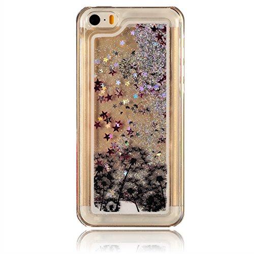iPhone 5C Bling Coque,iPhone 5C Glitter Coque,iPhone 5C Case,EMAXELERS 3D Unique Brillant Quicksand Transparent Liquide Case Etui Coque pour iPhone 5C,Cute Animaux Dolphins Motif Clair Liquide Rigide  B Silver Liquid 8