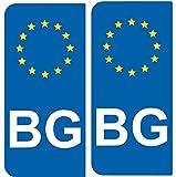 2 Autocollants de plaque d'immatriculation auto BG BULGARIE - Identifiant Européen