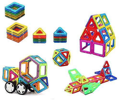 ❀ Brigamo 59556 - Magnetische Bausteine, 58 teiliger Magnetbausatz, Magnetspiel für Kinder ❀ thumbnail