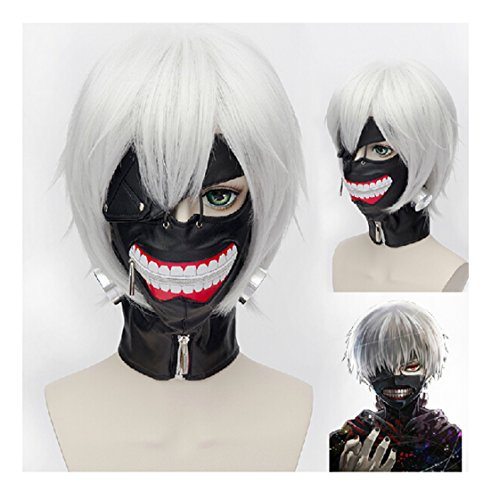 COSPLAZA Tokyo Ghoul Maske Ken Kaneki Halloween Junge Schwarz PU Leder Cosplay Show Mask