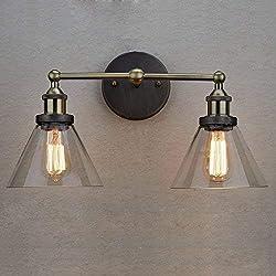 CLAXY Vintage Cristal Lámpara de Pared Retro Aplique de Vidrio 2 Lámparas