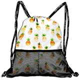 Juzijiang Pineapple Fashion Beam Mouth Shoulder Bag Travel Drawstring Backpack Shoulder for Unisex