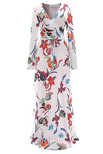 YMING Damen Maxi Wickelkleid Blumen Druck Casual V Ausschnitt 3/4 Arm Boho Strandkeid Bodenlanges Kleid Plus Größe,Wild Lilie,XXXL / DE 46-48 (Größe Plus Kimono-kleid)