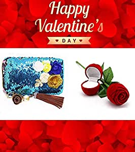 Leysin Combo Pack of Girls Gift Item, Designer Hand Bag with Red Rose Jewellery Ring Box for Women, Best Valentine Gift Item, Pack of 1