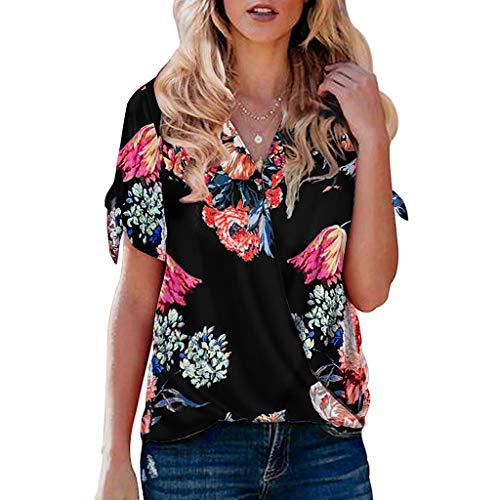 Sanahy T-Shirt Damen Blusen Tops Sommer Sexy Einfarbig Kurzarmshirt Oberteile, Bedrucktes geknotetes Oberteil Top Bluse Tee