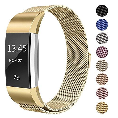 Fanceeast magnetisches Band für Fitbit Charge 2, aus Edelstahl, Ersatzarmband, Accessoire für Fitbit Charge 2, Armband für Fitness-Tracker, gold