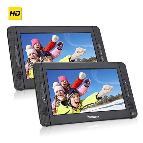 NAVISKAUTO 10,1 Zoll DVD Player Auto 2 Monitore Tragbarer DVD Player mit zusätzlichem Bildschirm 5 Stunden Akku Kopfstütze Monitor Fernseher Dual Bildschirm1014 - 9