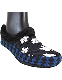 Neska Moda Premium Soft Cotton Women's Black Booties Cum Indoor Slippers-BT145