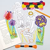 """Lesezeichen-Bastelsets """"Blume"""" mit Kreuzstich für Kinder als Bastel- und Deko-Idee für Jungen und Mädchen (4 Stück)"""