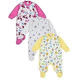 TupTam Unisex Baby Schlafstrampler Baumwolle 3er Pack, Farbe: Mädchen 4, Größe: 98