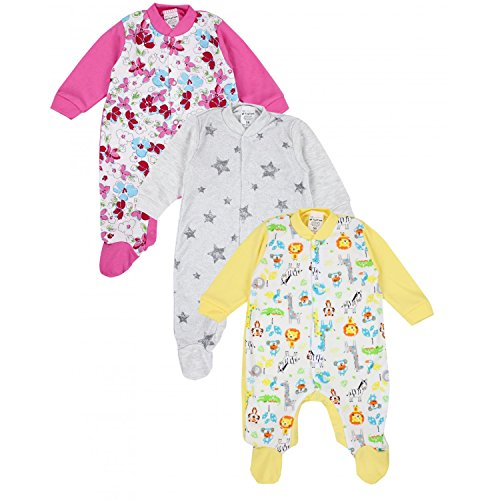 TupTam Unisex Baby Schlafstrampler Baumwolle 3er Pack, Farbe: Mädchen 4, Größe: 92