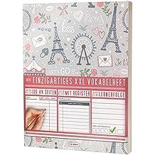 """Mein Einzigartiges XXL Vokabelheft: 100+ Seiten, 2 Spalten, Register / Lernerfolge auf jeder Seite zum Abhaken / PR101 """"France"""" / DIN A4 Softcover"""