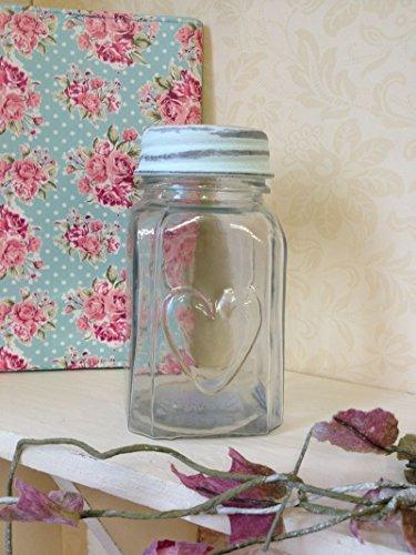 Vaso di vetro con Heart & coperchio dolce Pot Vintage Chic Wedding Decorazione della (Vaso Di Vetro Bicchiere)