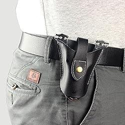 Alta calidad piel Cool bolsa de caza catapulta Slingshot Snap diseño abierto parte inferior, mujer hombre, negro