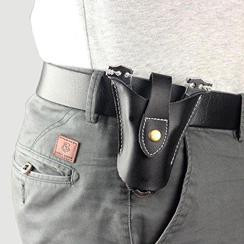 Hochwertiger Geninue Jagd Katapult Slingshot aus Leder Tasche Cool Snap Design Unterseite offen, damen Herren, schwarz (Leder-unterseite Schwarze)