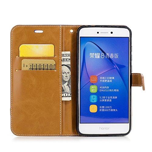 Custodia per Huawei P8 Lite 2017, ISAKEN Flip Cover per Huawei P8 Lite 2017 con Strap, Elegante Bookstyle Contrasto Collare PU Pelle Case Cover Protettiva Flip Portafoglio Custodia Protezione Caso con Marrone+blu