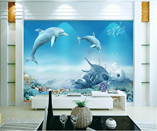 3D-Room-Wallpaper Dolphins Und Coral Reef Für Kinder Verdickt Geprägte Wasserdichte Wohnzimmer Tv Hintergrund Dekor,300Cmx210Cm