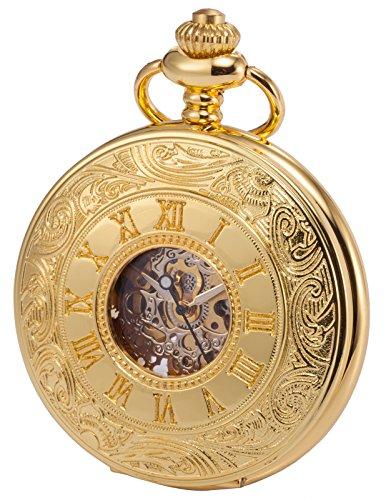 KS Golden Mechanische Taschenuhr Handaufzug Skelett Zifferblatt mit Kette und Geschenkbox KSP031 (Schöne Versprechen Ringe Für Sie)