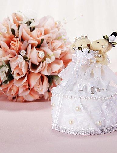 Lemon&T Music Box Wedding Ring Pillow Con Orso E Faux Pearl