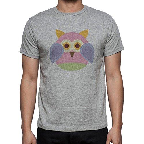 Owl Bird Night Midnighter Cute Pink Herren T-Shirt Grau