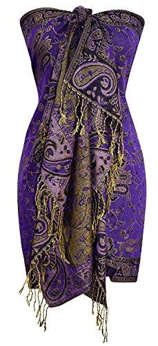 Peach Couture Exklusiv Damen Klassische Paisley Blumen Schal Pashmina Stolen (Lila)