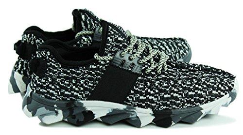 NEWZCERS fresco palestra istruttori di fitness a piedi sportiva leggera scarpe da corsa per gli uomini Nero