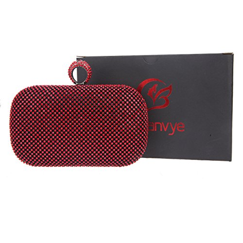 Bonjanvye Knuckles Shining Clutch Purses for Women Handbag and Evening Bags Red