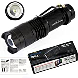 Sidiou Group Mini LED Linterna 7W 300lm CREE Q5 LED Linterna zoom ajustable Foco de luz de lámpara de flash