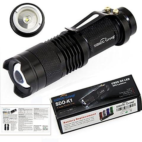 Sidiou Group Mini torche LED 7W 300LM CREE Q5 LED Flashlight Mise au point réglable Zoom Flash Light