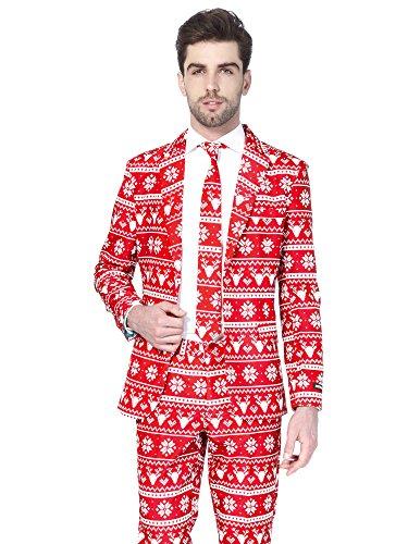 Suitmeister Weihnachtsanzüge für Herren besteht aus Sakko, Hose und Krawatte (Lustige Halloween-kostüme Personen 3 Für)