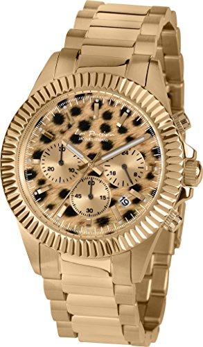 Jacques Lemans Women's 42mm Gold-Tone Steel Bracelet & Case Quartz Brown Dial Chronograph Watch LP-111O