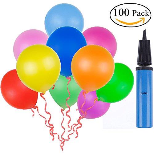 Lictin 100 Luftballon und 1 Ballonpumpe, Ballon und Luftpumpe, Luftballon, Partyballon, Farbige Ballons, Bunte Ballons für Halloween, Weihnachten, Geburtstagsfeiern, Party, - Ballon Halloween Spiele